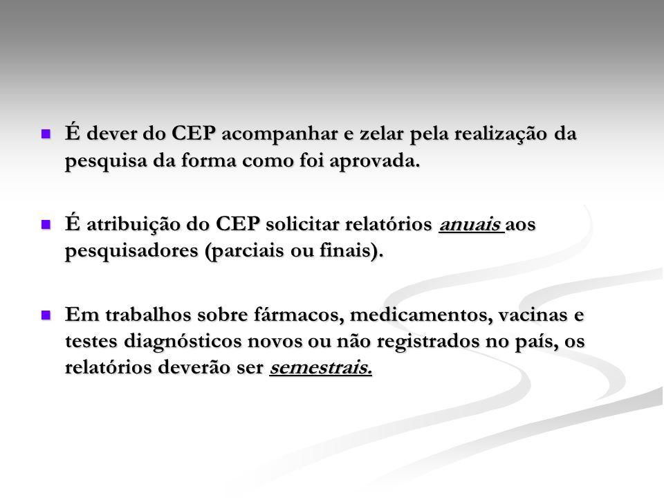 É dever do CEP acompanhar e zelar pela realização da pesquisa da forma como foi aprovada. É dever do CEP acompanhar e zelar pela realização da pesquis