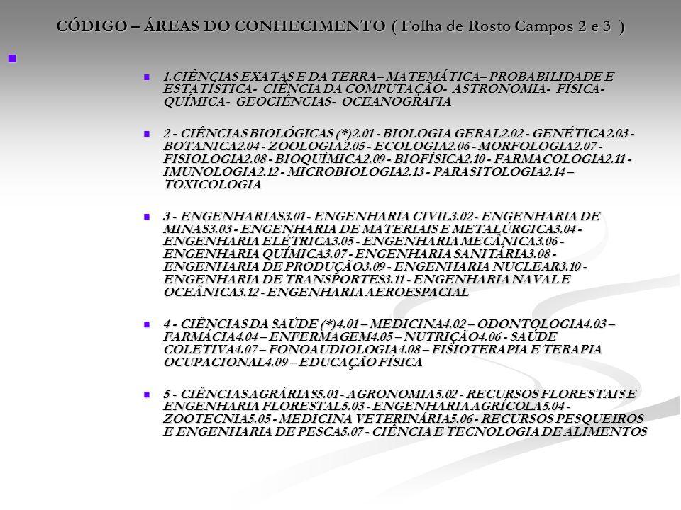 CÓDIGO – ÁREAS DO CONHECIMENTO ( Folha de Rosto Campos 2 e 3 ) 1.CIÊNCIAS EXATAS E DA TERRA– MATEMÁTICA– PROBABILIDADE E ESTATÍSTICA- CIÊNCIA DA COMPU