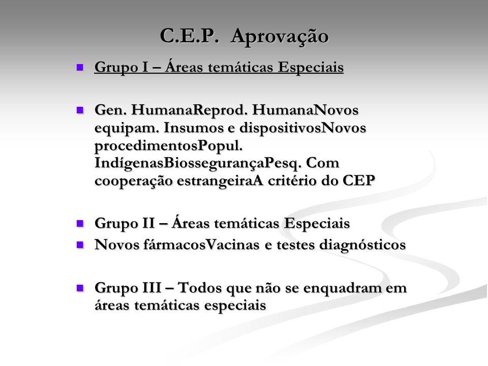 C.E.P. Aprovação Grupo I – Áreas temáticas Especiais Grupo I – Áreas temáticas Especiais Gen. HumanaReprod. HumanaNovos equipam. Insumos e dispositivo