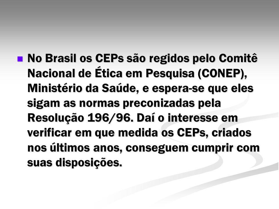 No Brasil os CEPs são regidos pelo Comitê Nacional de Ética em Pesquisa (CONEP), Ministério da Saúde, e espera-se que eles sigam as normas preconizada