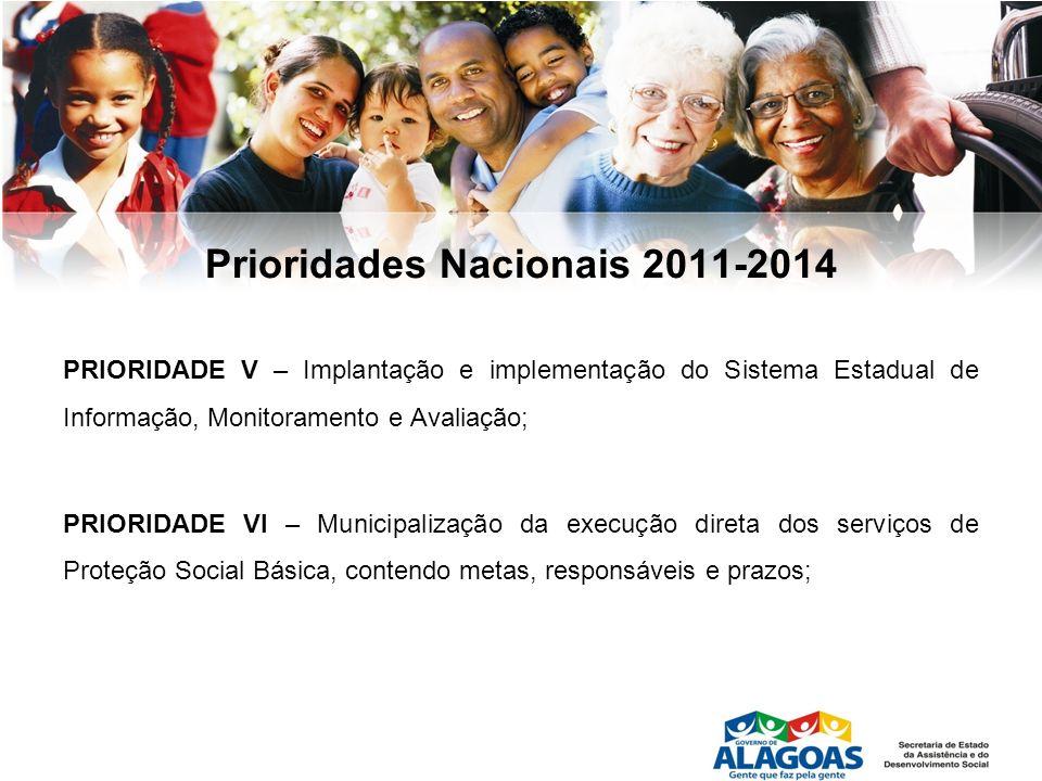 Prioridades Nacionais 2011-2014 PRIORIDADE V – Implantação e implementação do Sistema Estadual de Informação, Monitoramento e Avaliação; PRIORIDADE VI