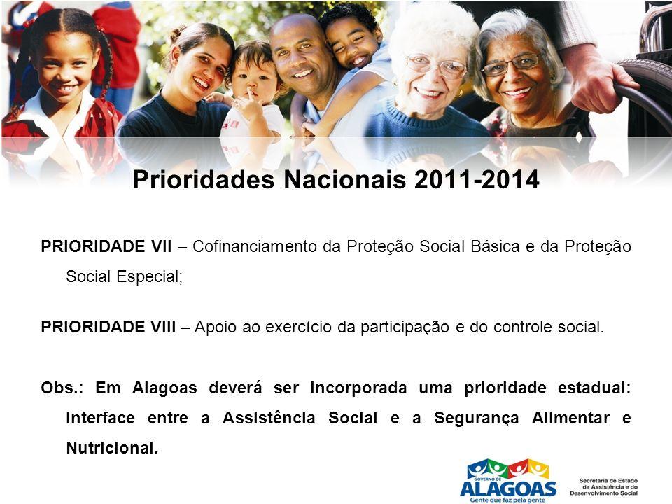 Prioridades Nacionais 2011-2014 PRIORIDADE VII – Cofinanciamento da Proteção Social Básica e da Proteção Social Especial; PRIORIDADE VIII – Apoio ao e