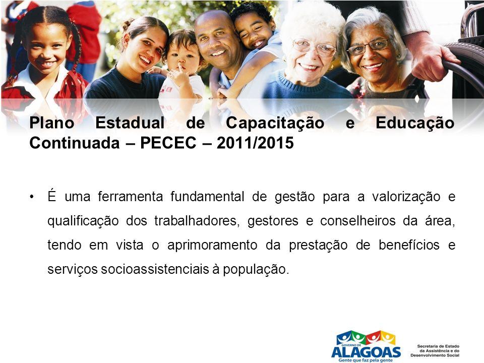 Plano Estadual de Capacitação e Educação Continuada – PECEC – 2011/2015 É uma ferramenta fundamental de gestão para a valorização e qualificação dos t