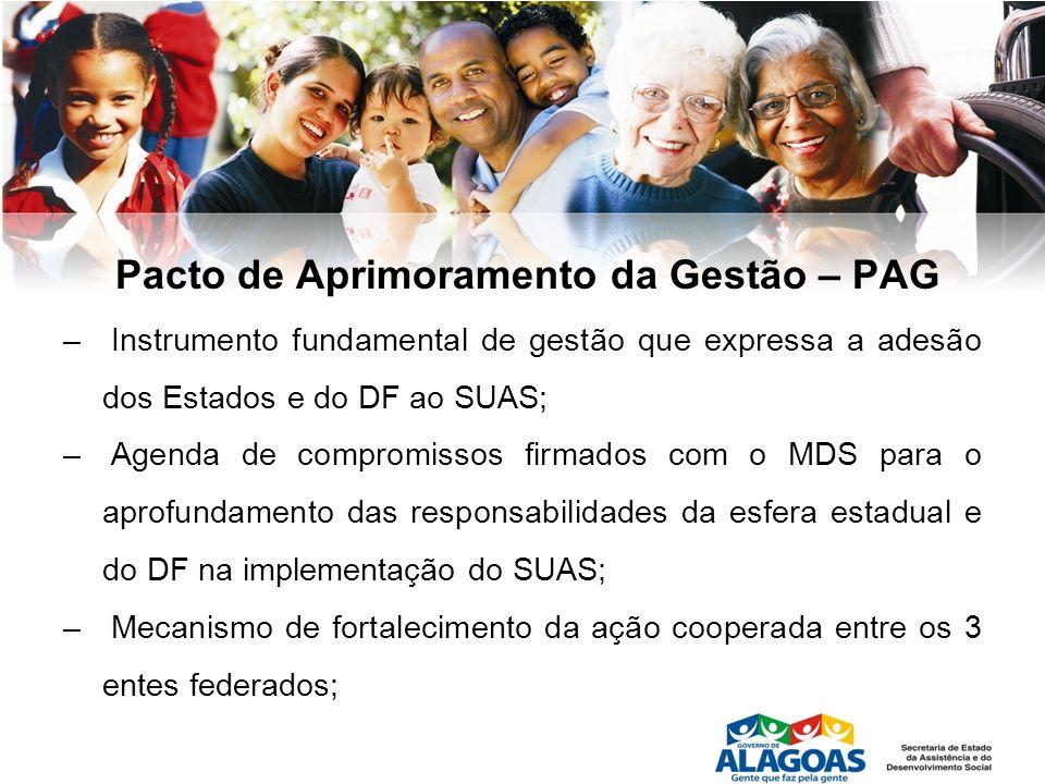 Pacto de Aprimoramento da Gestão – PAG – Instrumento fundamental de gestão que expressa a adesão dos Estados e do DF ao SUAS; – Agenda de compromissos