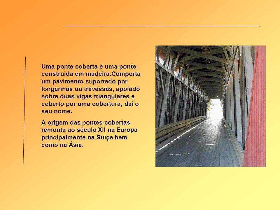 Uma ponte coberta é uma ponte construida em madeira.Comporta um pavimento suportado por longarinas ou travessas, apoiado sobre duas vigas triangulares e coberto por uma cobertura, daí o seu nome.