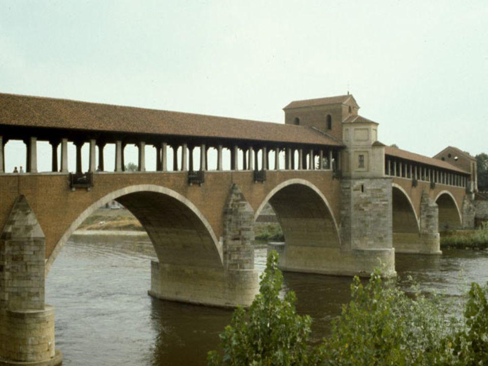 PONTE DE PAVIA Lombardia Itália Liga o centro da cidade ao antigo burgo medieval. Bombardeada durante a segunda guerra mundial, foi reconstruida no in