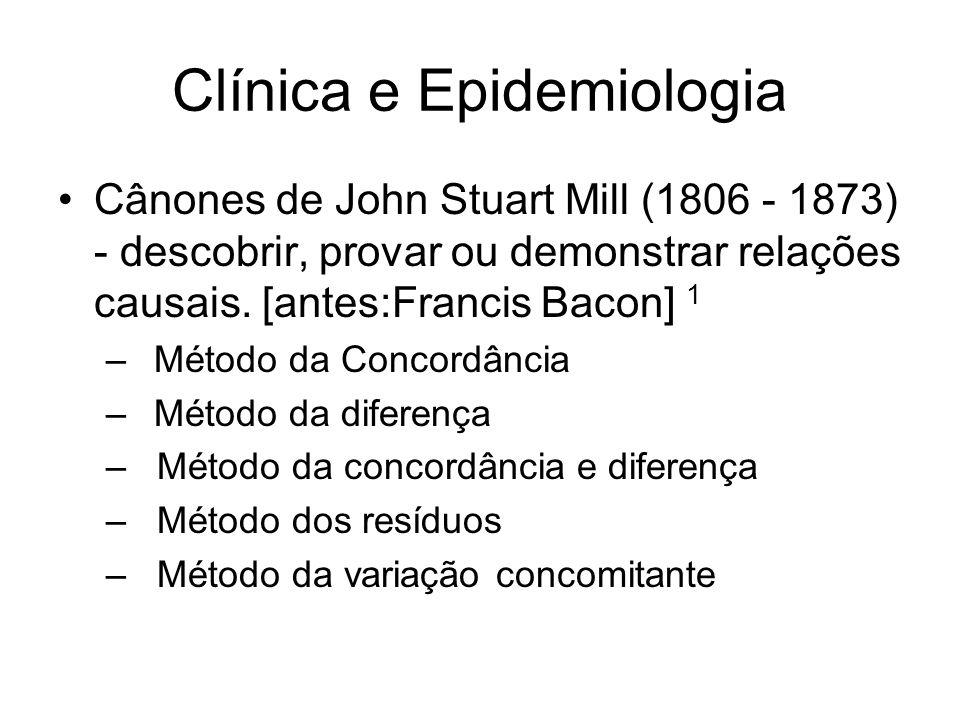 Clínica e Epidemiologia Cânones de John Stuart Mill (1806 - 1873) - descobrir, provar ou demonstrar relações causais. [antes:Francis Bacon] 1 –Método