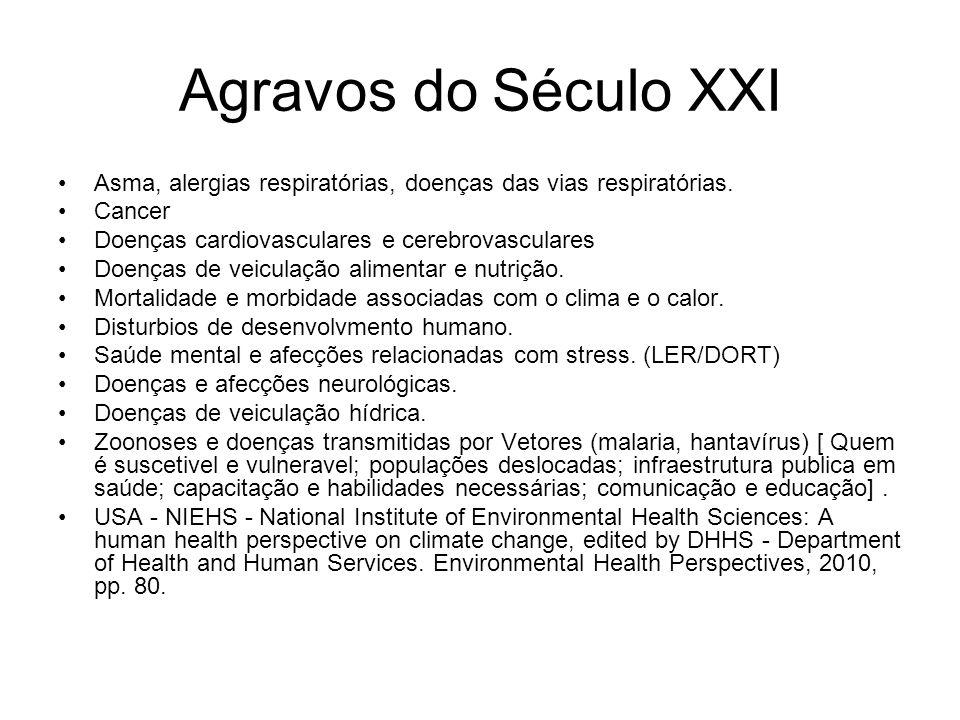 Agravos do Século XXI Asma, alergias respiratórias, doenças das vias respiratórias. Cancer Doenças cardiovasculares e cerebrovasculares Doenças de vei
