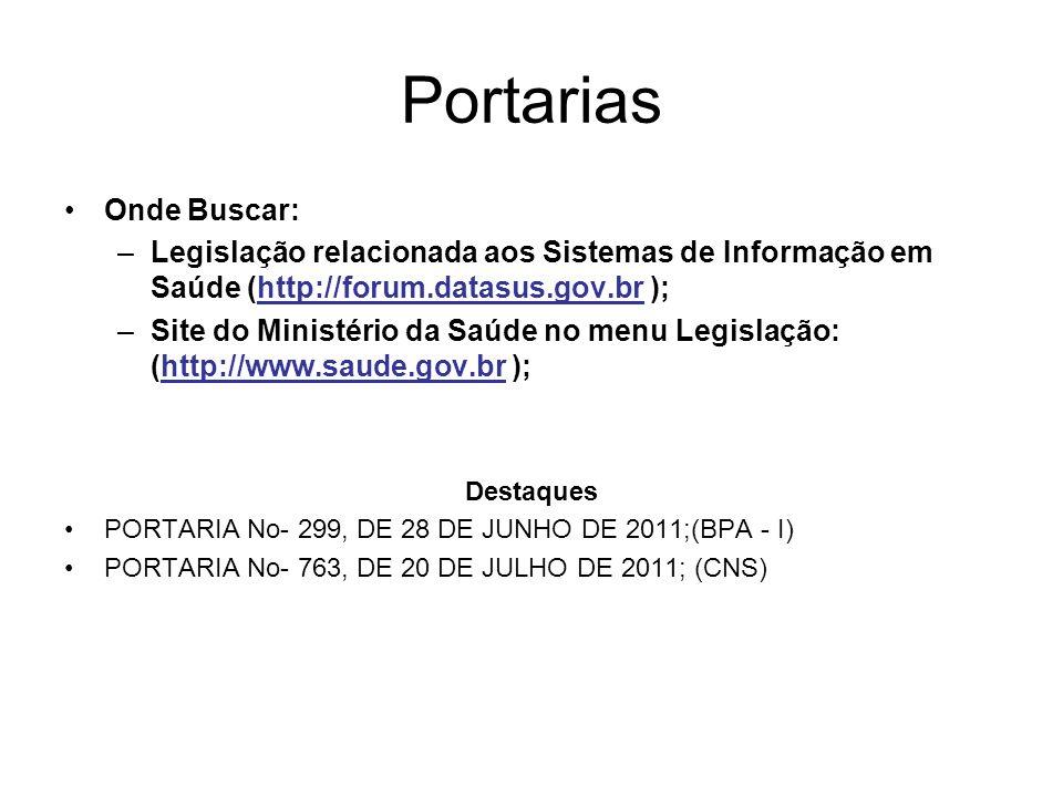 Portarias Onde Buscar: –Legislação relacionada aos Sistemas de Informação em Saúde (http://forum.datasus.gov.br ); –Site do Ministério da Saúde no men