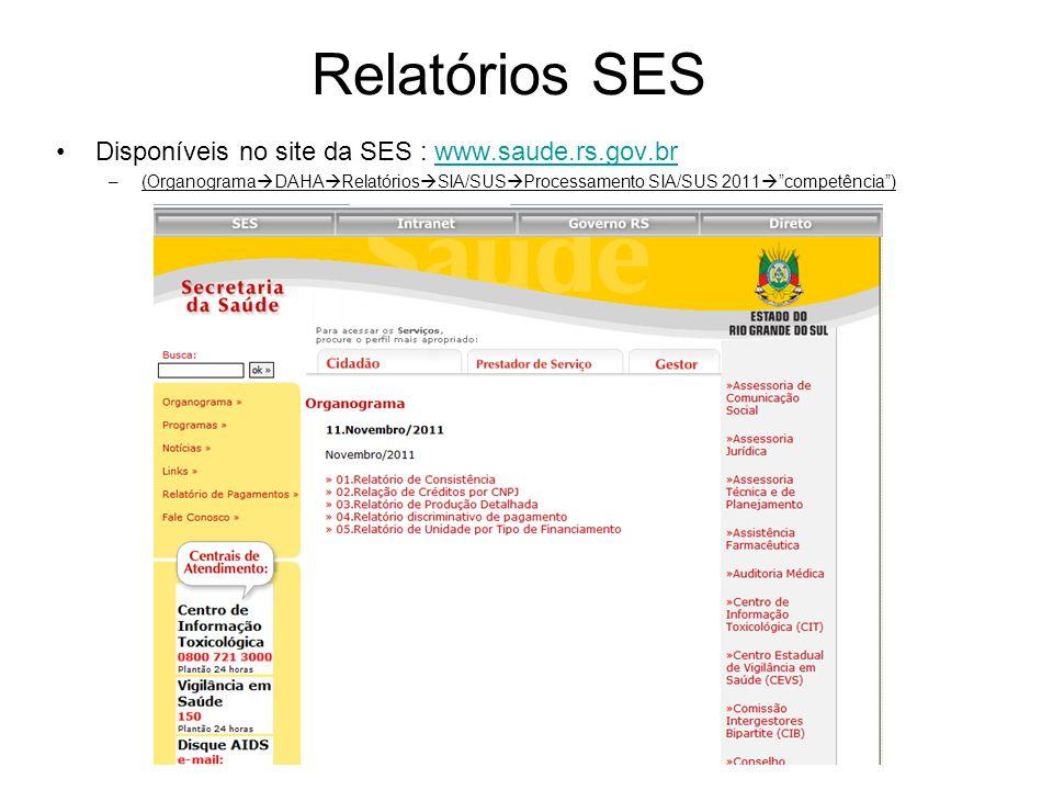 Relatórios SES Disponíveis no site da SES : www.saude.rs.gov.brwww.saude.rs.gov.br –(Organograma DAHA Relatórios SIA/SUS Processamento SIA/SUS 2011 co