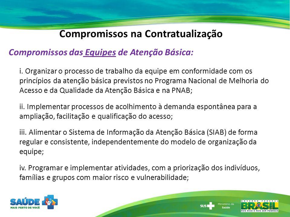 Compromissos na Contratualização Compromissos das Equipes de Atenção Básica: i. Organizar o processo de trabalho da equipe em conformidade com os prin