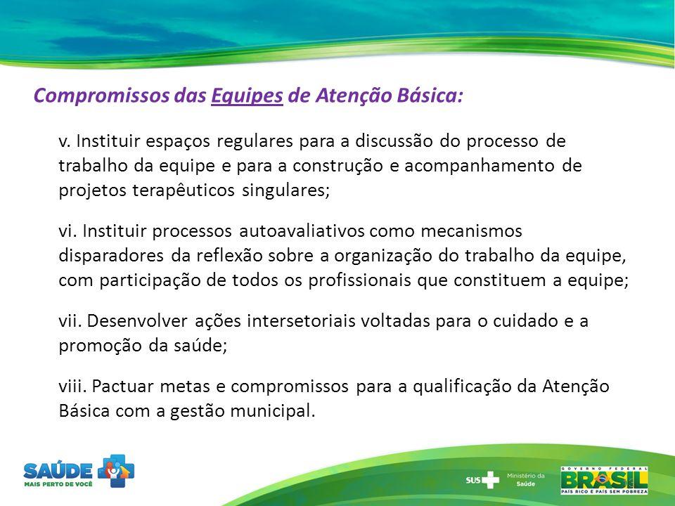 Compromissos das Equipes de Atenção Básica: v. Instituir espaços regulares para a discussão do processo de trabalho da equipe e para a construção e ac