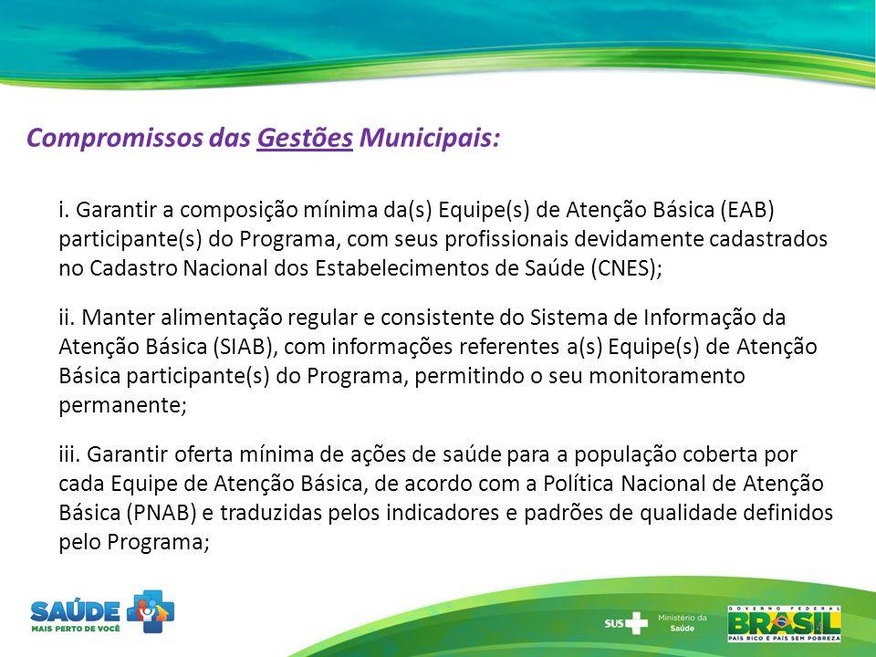 Compromissos das Gestões Municipais: i. Garantir a composição mínima da(s) Equipe(s) de Atenção Básica (EAB) participante(s) do Programa, com seus pro