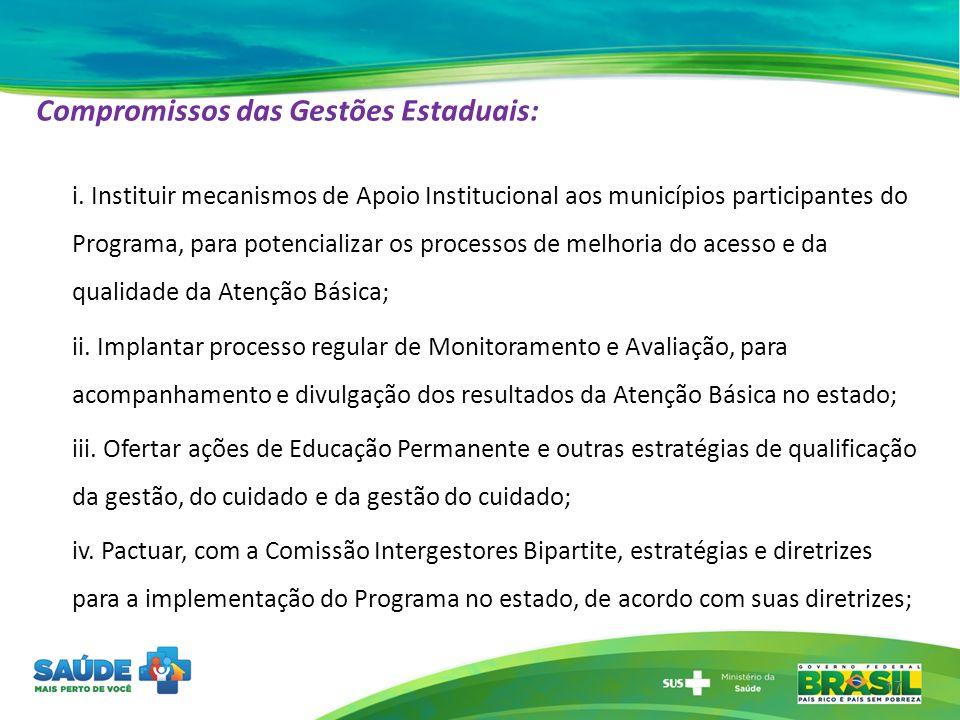 Compromissos das Gestões Estaduais: i. Instituir mecanismos de Apoio Institucional aos municípios participantes do Programa, para potencializar os pro