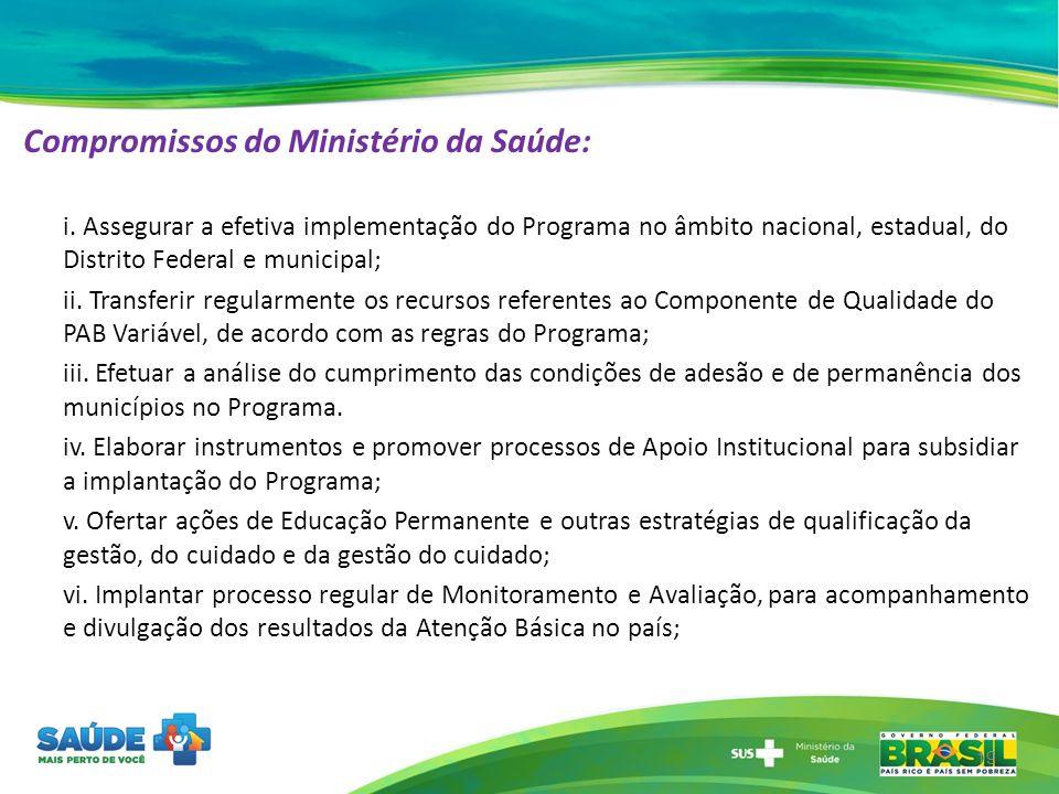 Compromissos do Ministério da Saúde: i. Assegurar a efetiva implementação do Programa no âmbito nacional, estadual, do Distrito Federal e municipal; i