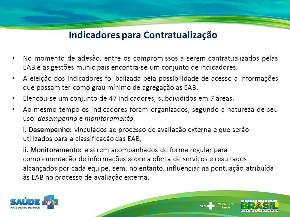 Indicadores para Contratualização No momento de adesão, entre os compromissos a serem contratualizados pelas EAB e as gestões municipais encontra-se u