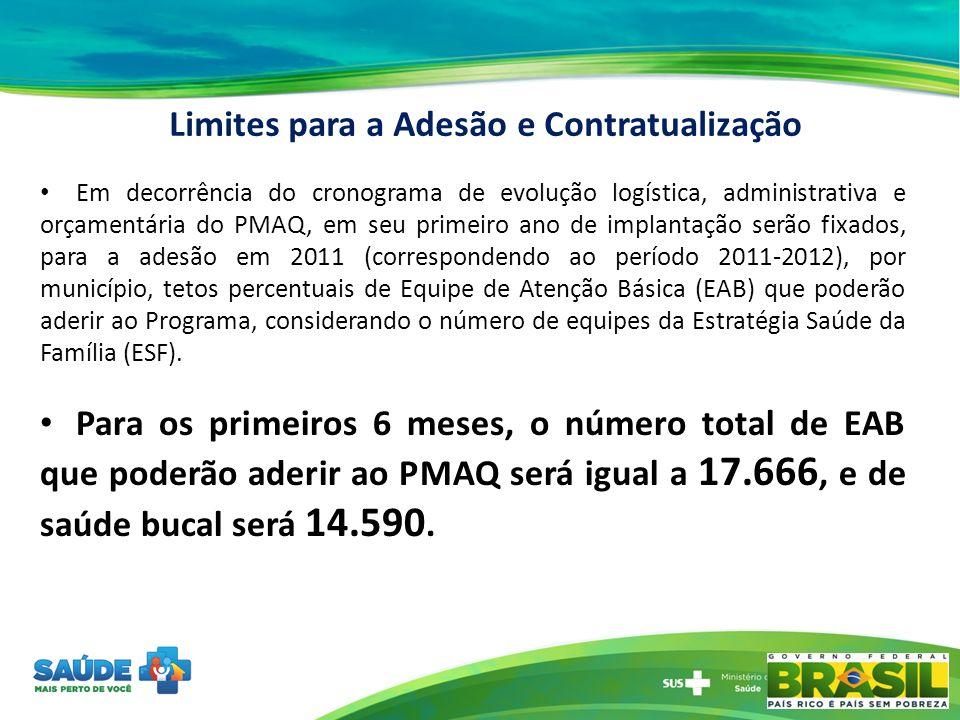 Em decorrência do cronograma de evolução logística, administrativa e orçamentária do PMAQ, em seu primeiro ano de implantação serão fixados, para a ad