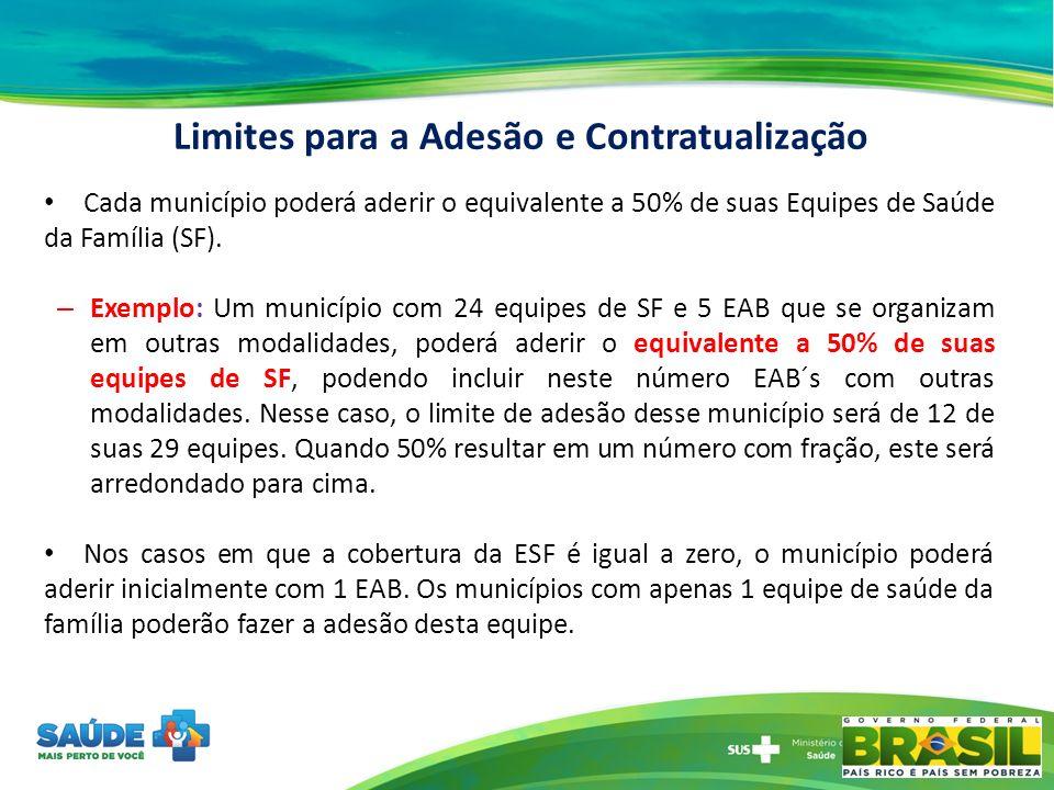 Cada município poderá aderir o equivalente a 50% de suas Equipes de Saúde da Família (SF). – Exemplo: Um município com 24 equipes de SF e 5 EAB que se
