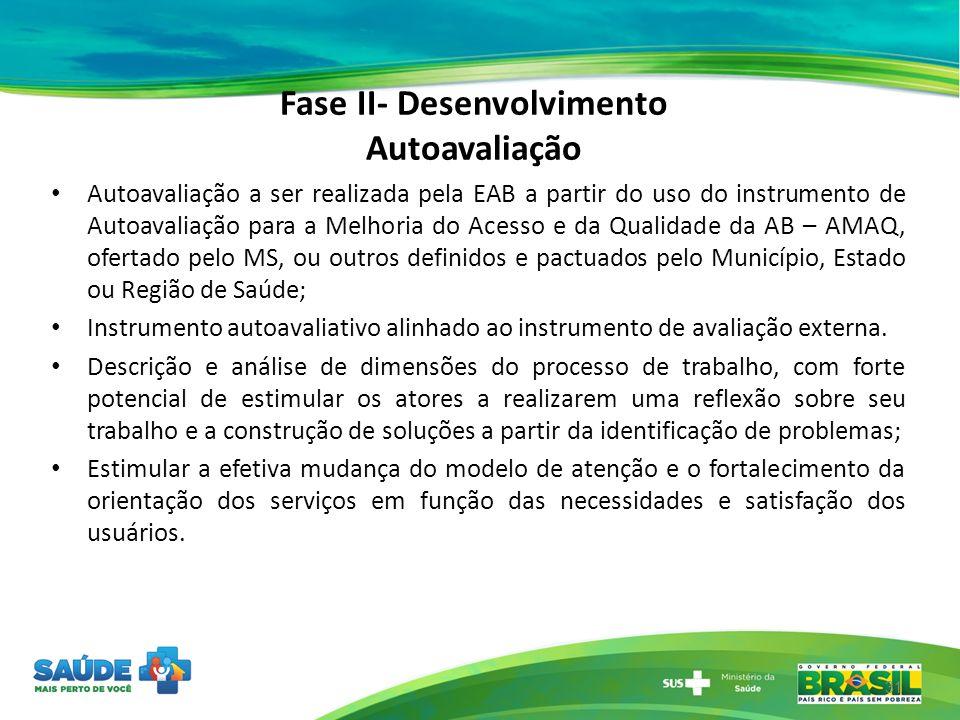 Fase II- Desenvolvimento Autoavaliação 31 Autoavaliação a ser realizada pela EAB a partir do uso do instrumento de Autoavaliação para a Melhoria do Ac