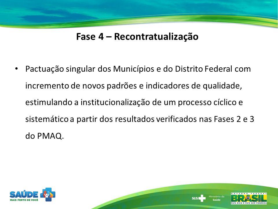 Fase 4 – Recontratualização Pactuação singular dos Municípios e do Distrito Federal com incremento de novos padrões e indicadores de qualidade, estimu