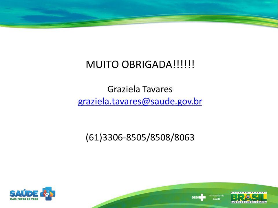 MUITO OBRIGADA!!!!!! Graziela Tavares graziela.tavares@saude.gov.br (61)3306-8505/8508/8063