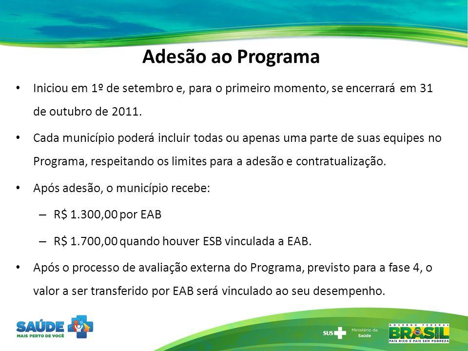 Adesão ao Programa Iniciou em 1º de setembro e, para o primeiro momento, se encerrará em 31 de outubro de 2011. Cada município poderá incluir todas ou