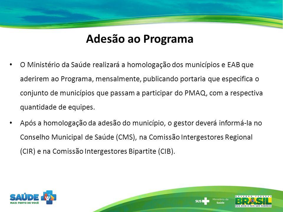 Adesão ao Programa O Ministério da Saúde realizará a homologação dos municípios e EAB que aderirem ao Programa, mensalmente, publicando portaria que e