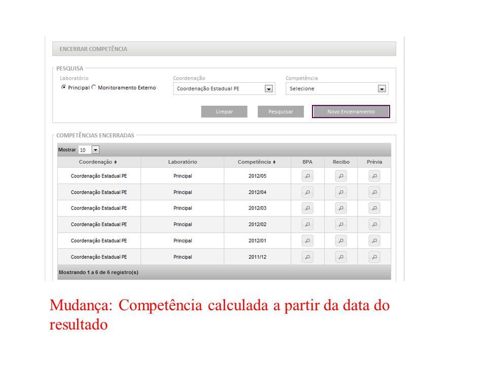 Mudança: Competência calculada a partir da data do resultado