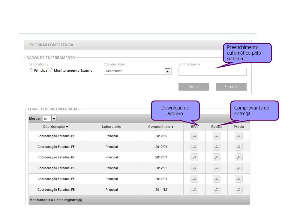 Preenchimento automático pelo sistema Download do arquivo Comprovante de entrega
