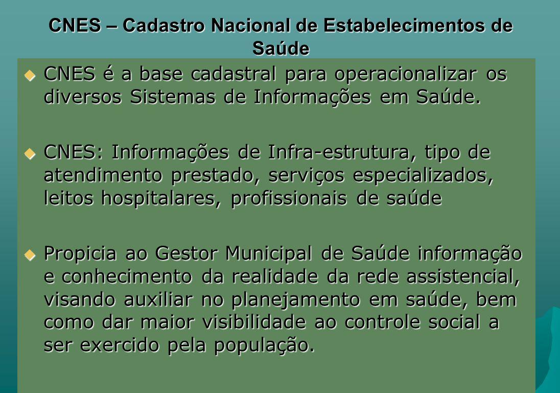 CNES – Cadastro Nacional de Estabelecimentos de Saúde CNES é a base cadastral para operacionalizar os diversos Sistemas de Informações em Saúde. CNES