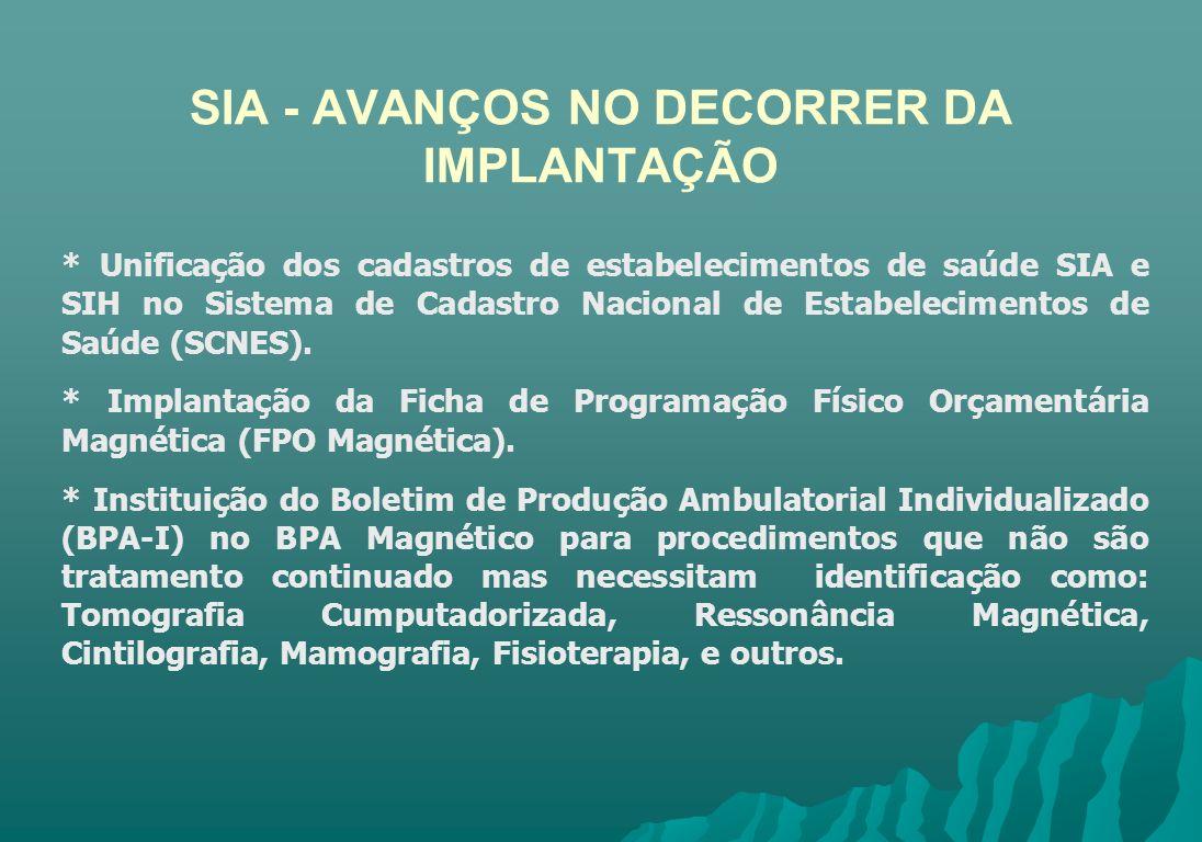 SIA - AVANÇOS NO DECORRER DA IMPLANTAÇÃO * Unificação dos cadastros de estabelecimentos de saúde SIA e SIH no Sistema de Cadastro Nacional de Estabele
