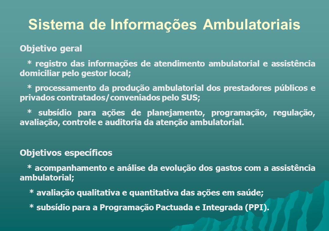 Sistema de Informações Ambulatoriais Objetivo geral * registro das informações de atendimento ambulatorial e assistência domiciliar pelo gestor local;