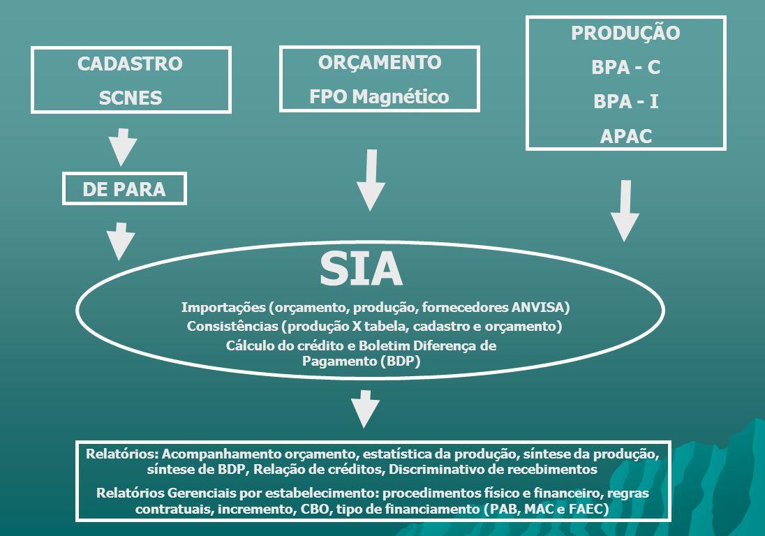 CADASTRO SCNES SIA ORÇAMENTO FPO Magnético PRODUÇÃO BPA - C BPA - I APAC DE PARA Importações (orçamento, produção, fornecedores ANVISA) Consistências