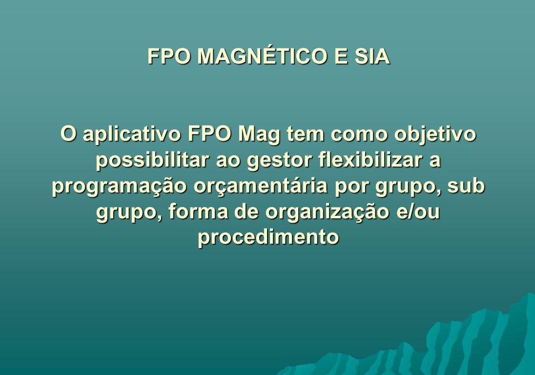 FPO MAGNÉTICO E SIA O aplicativo FPO Mag tem como objetivo possibilitar ao gestor flexibilizar a programação orçamentária por grupo, sub grupo, forma