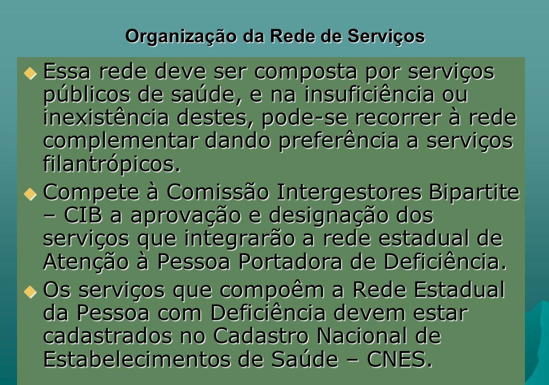 Organização da Rede de Serviços Essa rede deve ser composta por serviços públicos de saúde, e na insuficiência ou inexistência destes, pode-se recorre