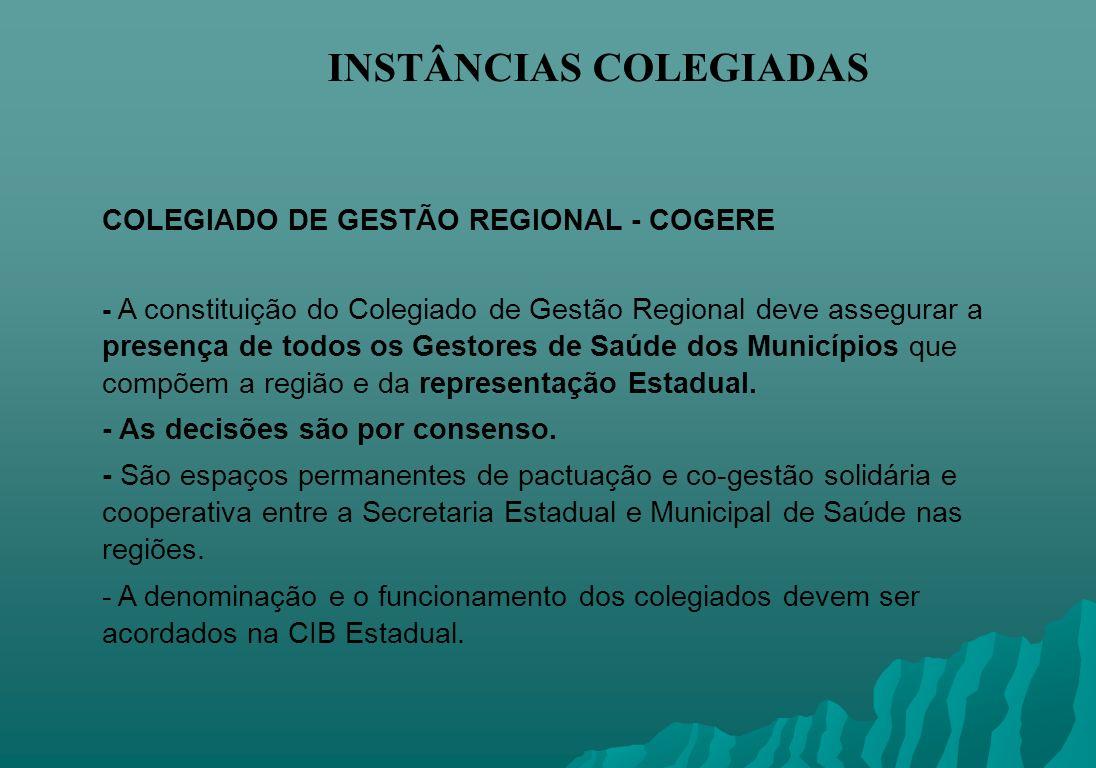 INSTÂNCIAS COLEGIADAS COLEGIADO DE GESTÃO REGIONAL - COGERE - A constituição do Colegiado de Gestão Regional deve assegurar a presença de todos os Ges