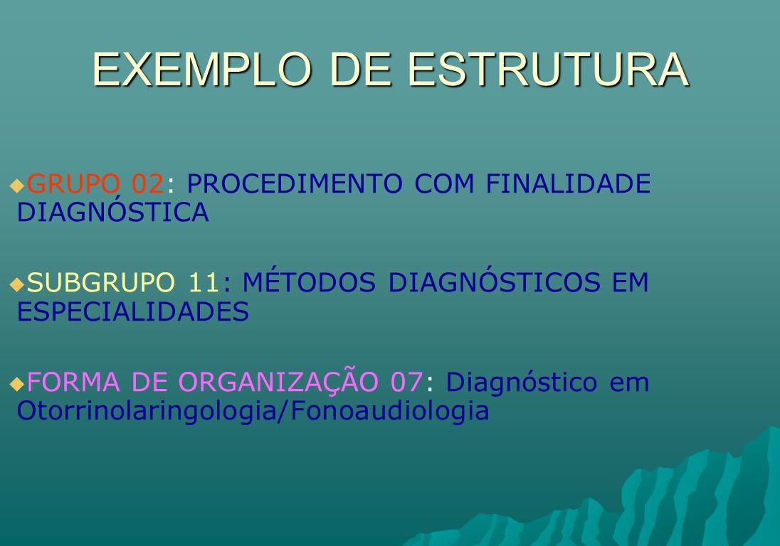 EXEMPLO DE ESTRUTURA GRUPO 02: PROCEDIMENTO COM FINALIDADE DIAGNÓSTICA SUBGRUPO 11: MÉTODOS DIAGNÓSTICOS EM ESPECIALIDADES FORMA DE ORGANIZAÇÃO 07: Di