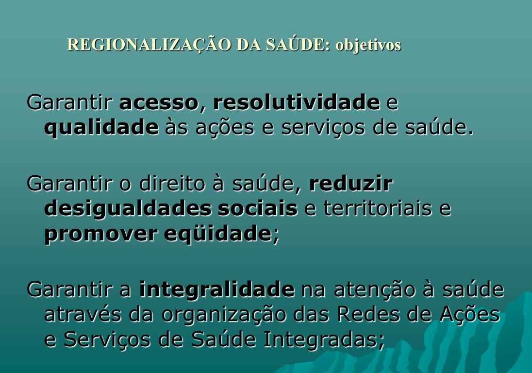 REGIONALIZAÇÃO DA SAÚDE: objetivos REGIONALIZAÇÃO DA SAÚDE: objetivos Garantir acesso, resolutividade e qualidade às ações e serviços de saúde. Garant