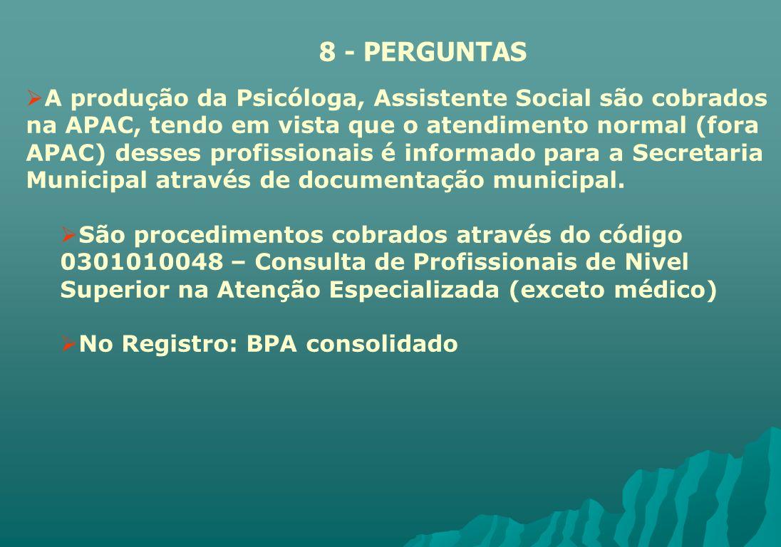 A produção da Psicóloga, Assistente Social são cobrados na APAC, tendo em vista que o atendimento normal (fora APAC) desses profissionais é informado