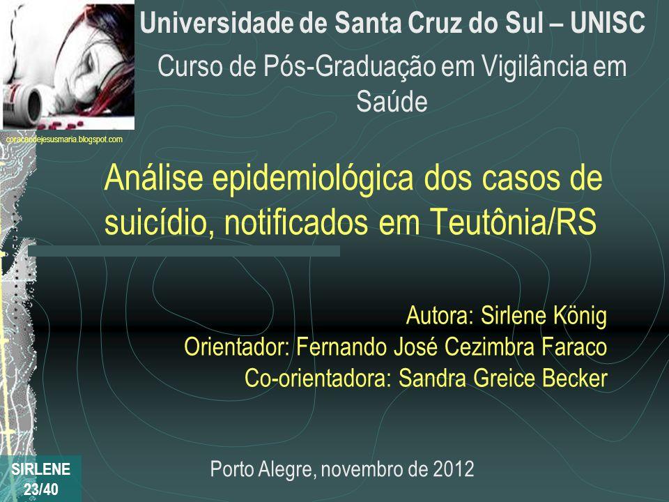 Análise epidemiológica dos casos de suicídio, notificados em Teutônia/RS Universidade de Santa Cruz do Sul – UNISC Curso de Pós-Graduação em Vigilânci