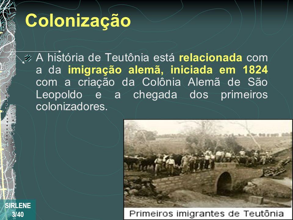 Colonização A história de Teutônia está relacionada com a da imigração alemã, iniciada em 1824 com a criação da Colônia Alemã de São Leopoldo e a cheg