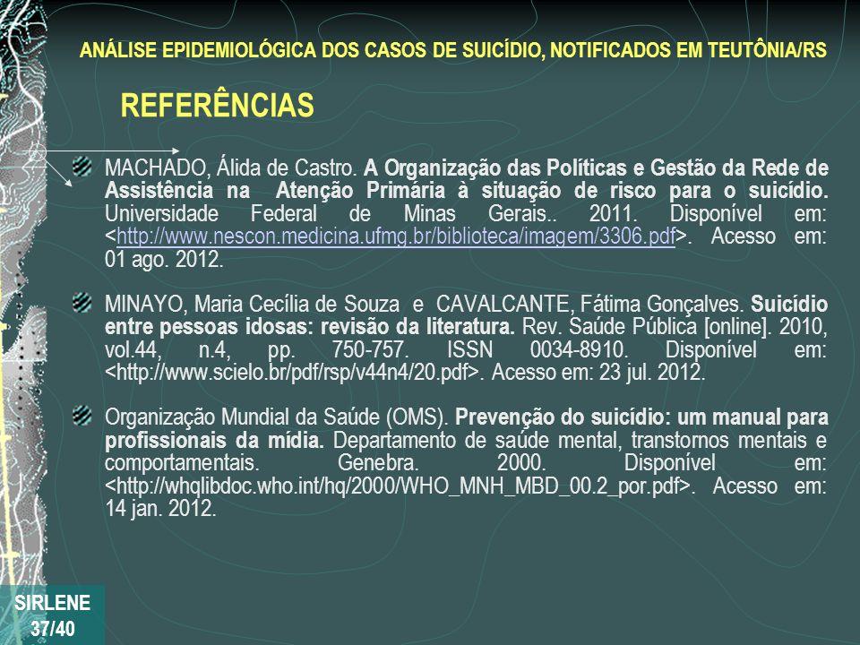 MACHADO, Álida de Castro. A Organização das Políticas e Gestão da Rede de Assistência na Atenção Primária à situação de risco para o suicídio. Univers