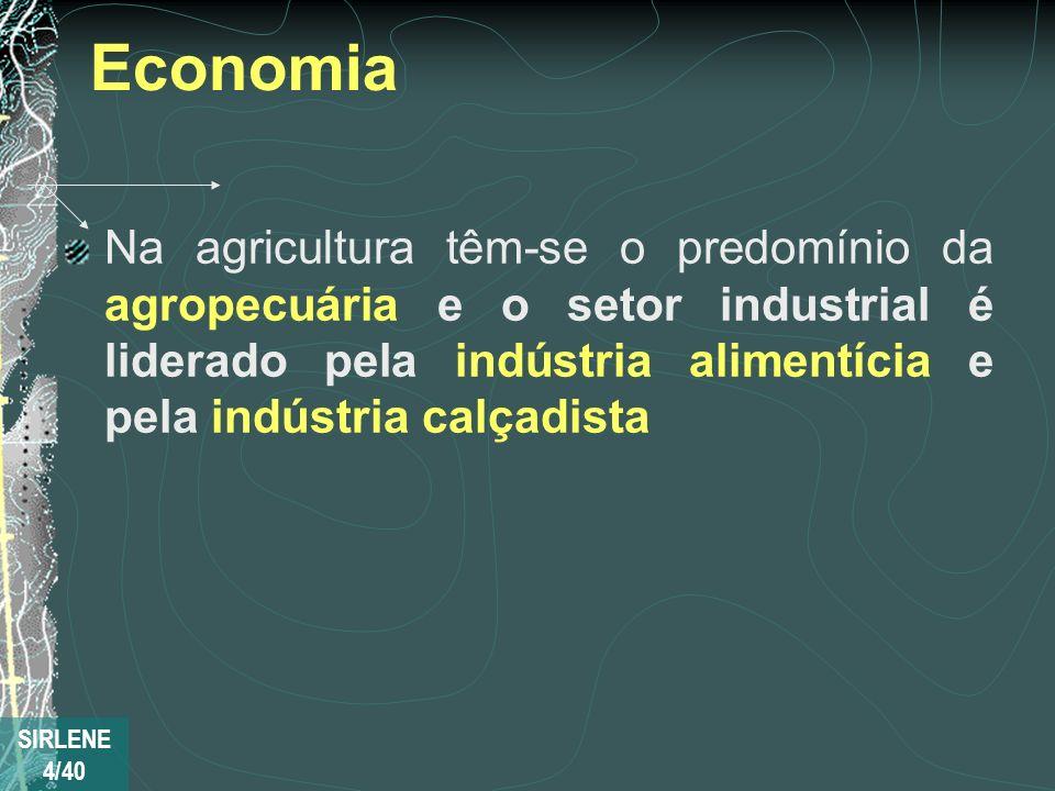 Economia Na agricultura têm-se o predomínio da agropecuária e o setor industrial é liderado pela indústria alimentícia e pela indústria calçadista SIR