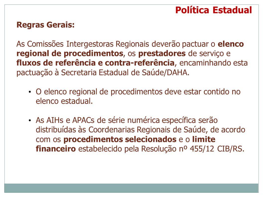 Regras Gerais: As Comissões Intergestoras Regionais deverão pactuar o elenco regional de procedimentos, os prestadores de serviço e fluxos de referênc