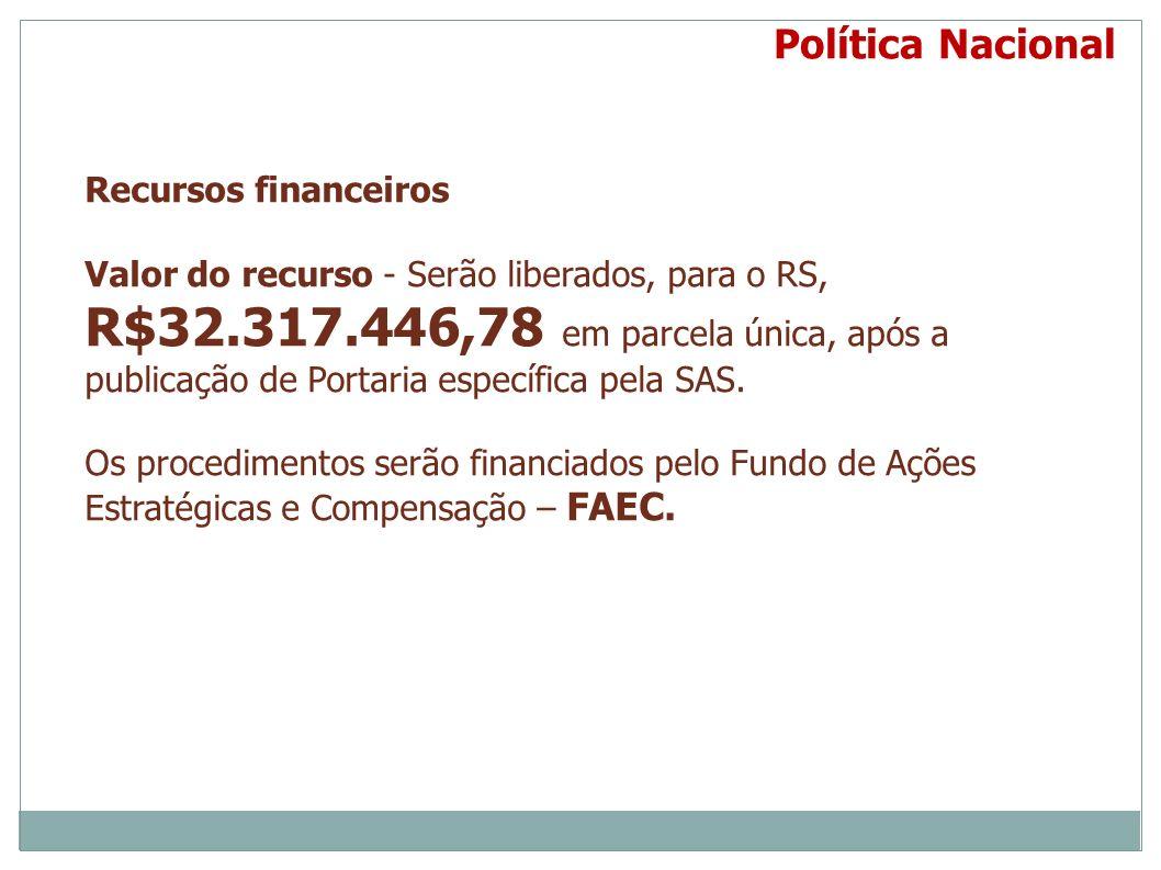 Recursos financeiros Valor do recurso - Serão liberados, para o RS, R$32.317.446,78 em parcela única, após a publicação de Portaria específica pela SA