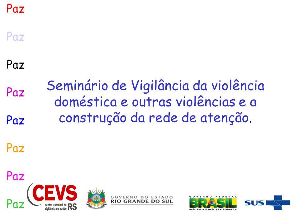 Seminário de Vigilância da violência doméstica e outras violências e a construção da rede de atenção. Paz