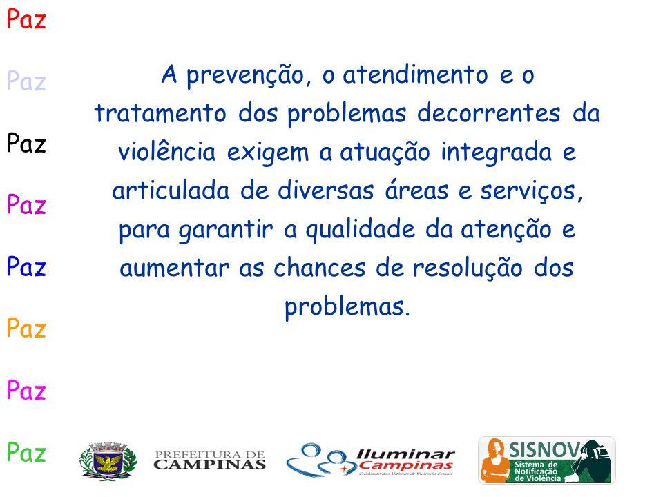 Paz A prevenção, o atendimento e o tratamento dos problemas decorrentes da violência exigem a atuação integrada e articulada de diversas áreas e servi