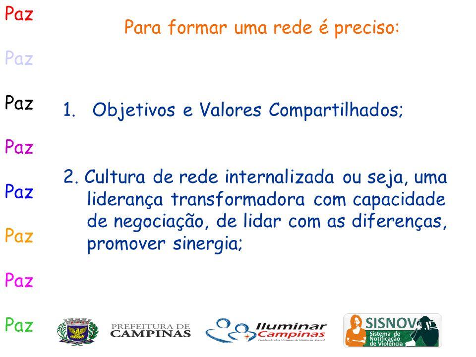 Paz 1. Objetivos e Valores Compartilhados; 2. Cultura de rede internalizada ou seja, uma liderança transformadora com capacidade de negociação, de lid