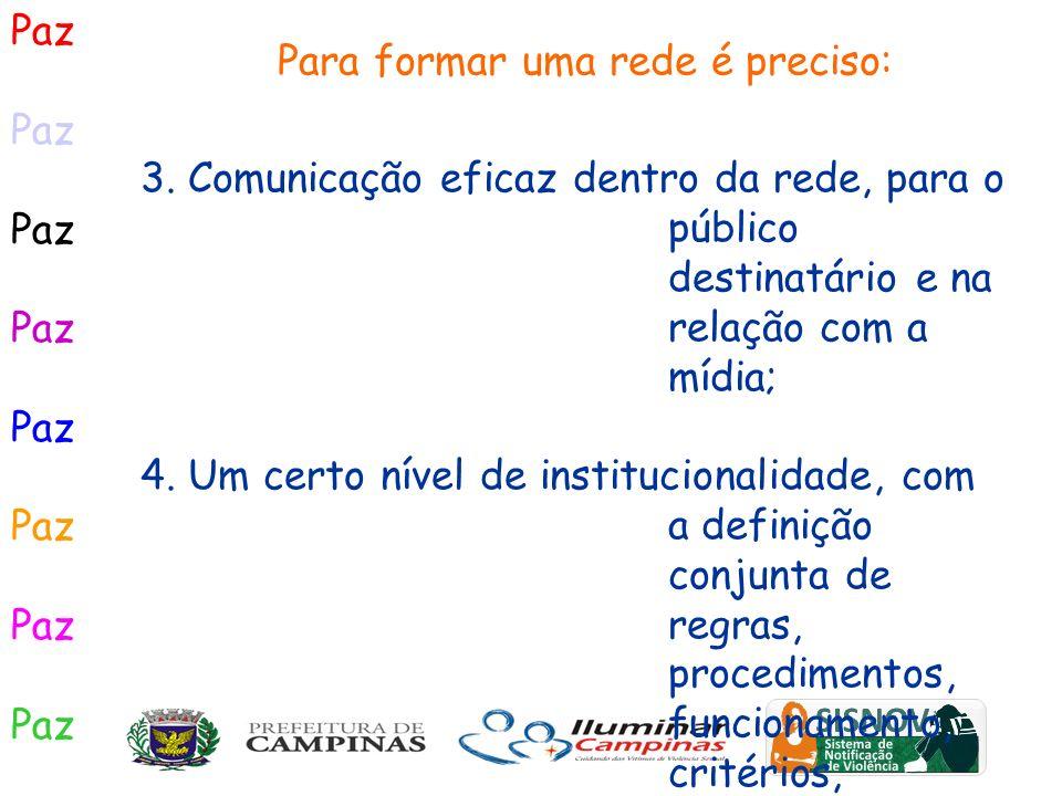 Paz 3. Comunicação eficaz dentro da rede, para o público destinatário e na relação com a mídia; 4. Um certo nível de institucionalidade, com a definiç