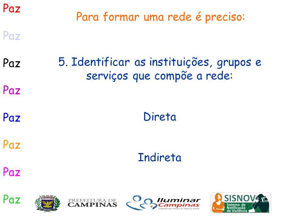 Paz Para formar uma rede é preciso: 5. Identificar as instituições, grupos e serviços que compõe a rede: Direta Indireta
